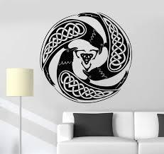 Vinyl Wall Decal Celtic Raven Pattern Druid Irish Art Ireland Stickers Wallstickers4you