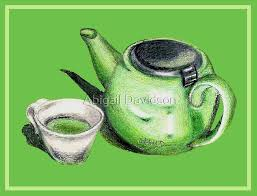 "Green Tea and Teapot Illustration Art"" by Abigail Davidson 