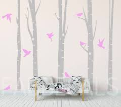 Birch Trees Wall Decal Girls Room Decor Large Birch Forest Etsy
