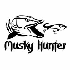 16 3cm 9 9cm Vinyl Car Stickers Fishing Musky Hunter Cartoon Fish Decal Black Silver Wish