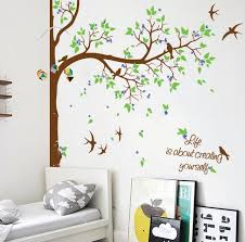 Nursery Tree With Flying Birds Custom Name Or Quotes Decals Baby Kids Ellaseal
