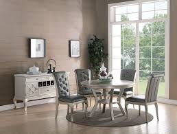 Kassa Mall Home Furniture F2150 F1540 F6067 5 Piece Formal Round Dining Table Set In Antique Silver Finish
