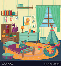 Playing Room For Boy With Dragon Toys Cozy Kids Vector Image