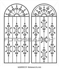 Wrought Iron Gate Door Fence Window Grill Railing Design Clipart K22090331 Railing Design Wrought Iron Gate Window Grill Design