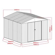 2 99 x 2 39m cream sliding door garden shed