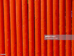 Closeup Of Orange Wooden Fence High Res Stock Photo Getty Images