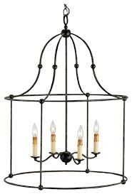 iron frame 4 light lantern pendant lamp