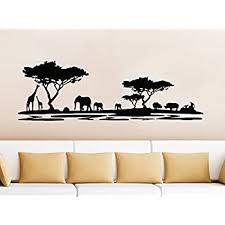 Amazon Com Safari Wall Decal Animals Jungle Safari African Tree Animals Jungle Giraffe Elephant Vinyl Decals Sticker Home Interior Design Art Mural Kids Nursery Baby Room Bedroom Decor Home Kitchen
