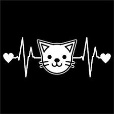 Amazon Com Cat Face Heartbeat Vinyl Decal Sticker Cars Trucks Vans Walls Laptops Cups White 7 5 X 2 8 Inch Kcd1192 Automotive