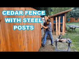 Best Way To Build A Cedar Fence Wood With Steel Posts Brackets Youtube