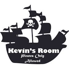 Pirate Only Allowed Personalized Name Custom Names Pirate Ship Wall Decals Boys Room Pirates Ships Kids Decor Sticker Room Decoration For Bedrooms Stickers Sticker Boy Designs Size 12x20 Inch
