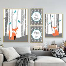 Nursery Wall Art Canvas Poster Print Abstract Cartoon Animals Fox Picture Pop Art Nordic Style Kids Bedroom Wall Art Decoration Painting Calligraphy Aliexpress