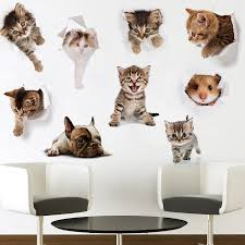 Big Discount 953e21 Hole View Cat Dog Animal 3d Wall Sticker Bathroom Toilet Kids Room Decoration Wall Decals Sticker Refrigerator Waterproof Poster Cicig Co