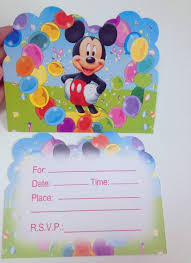 12 Pc Lot Mickey Mouse Fuentes Del Partido Tarjeta De Invitacion