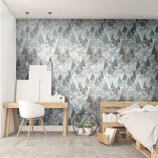 forest trees wallpaper painted