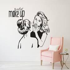 Women Make Up Wall Decal Beauty Salon Decor Make Up Artist Quote Wall Sticker Vinyl Cosmetic Shop Window Vinyl Stickers Az042 Wall Stickers Aliexpress