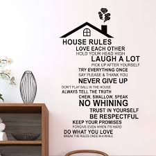 Amazon Com Decalmile House Rules Wall Decals Quotes Inspirational Family Word Stickers Living Room Bedroom Wall Decor Finished Size 30 Inch X 18 Inch Kitchen Dining