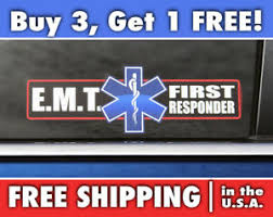 Emt First Responder Sticker Paramedic Car Bumper Sticker Star Of Life Decal Ebay