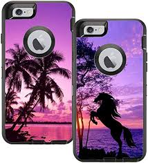 Amazon Com Teleskins Protective Designer Vinyl Skin Decals Compatible With Otterbox Defender Iphone 6 Plus Iphone 6s Plus Case Tropical Palm Trees Sunset Beach And Horse Design Pack Of 2 Skins