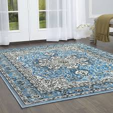 arend oriental light blue area rug in