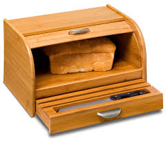 Honey Can Do Bamboo Bread Box With Roll Top Cover And Cutting Board Walmart Com Walmart Com