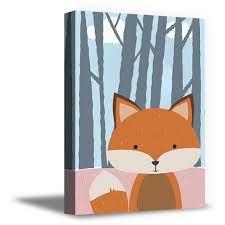 Awkward Styles Fox Printed Canvas Art Forest Room Decor Kids Printed Poster Wall Art Fox Canvas Illustration Little Fox Nursery Baby Room Decor Stretched Canvas Artwork For Home Fox Lovers Decor