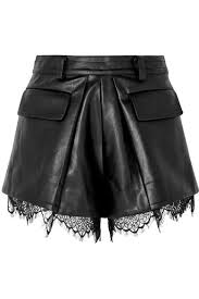 lace trimmed faux leather shorts black
