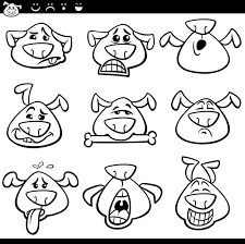 Hond Emoticons Cartoon Kleurplaat Premium Vector