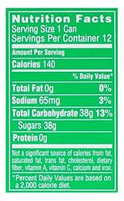 sprite label nutrition facts labels