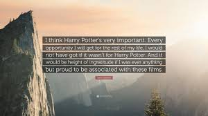 """daniel radcliffe quote """"i think harry potter s very important"""