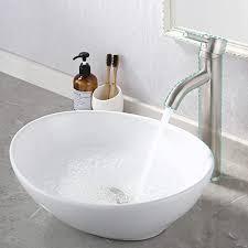 oval white ceramic vessel sink modern