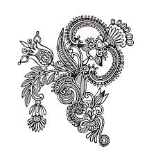 Vinyl Wall Decor Sticker Henna Pattern Flowers Decal Indian Symbol Tattoo Art