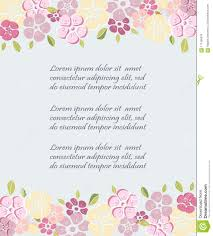 Template With Flowers For Party Invitation Greeting Card Stock