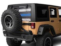 Sec10 Jeep Wrangler Perforated Real Flag Rear Window Decal Blue Line J122188 87 21 Jeep Wrangler Yj Tj Jk Jl