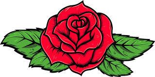 Amazon Com Shinobi Stickers Beautiful Artistic Colorful Romantic Red Rose With Leaves Cartoon Vinyl Sticker 2 Wide Automotive