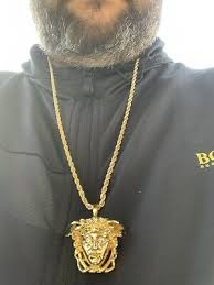 medusa head pendant rope chain necklace