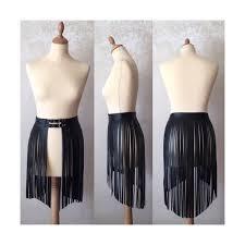 leather fringe skirt dress fashion