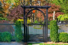 Black Vinyl Pvc Picket Fence From Illusions Fence Transitional Landscape New York By Illusions Vinyl Fence