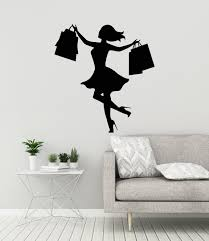 Shopping Girl Vinyl Wall Decal Silhouette Woman With Bags Etsy Vinyl Wall Decals Mural Wall Decals