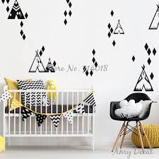 Tribal Teepee And Diamond Pattern Wall Decals Geometric Tents Vinyl Wall Stickers For Kids Room Bedroom Decor Nursery Decal A847 Sticker For Kids Room Vinyl Wall Stickerswall Stickers For Kids Aliexpress