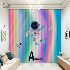 Best Price 2abff0 Blue Blackout Curtains For Kids Room Bedroom 3d Printed Living Room Curtains Outer Space Planet Children Boys Custom Blinds Cicig Co