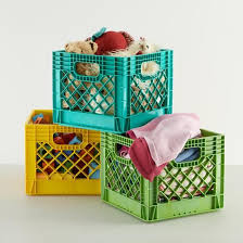 The Land Of Nod Kids Storage Colorful Milk Crates For Kids In Floor Storage In The Closet Milk Crate Storage Milk Crates Kids Storage