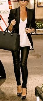 leather leggings white top black