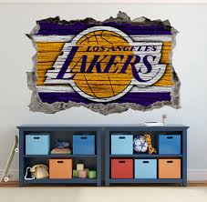 Lakers Wall Art Decal 3d Smashed Basketball Nba Wall Decor Wl191 Ebay