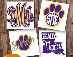 Lsu Monogram Decal College Decal Tigers Decal Lsu Girl Decal Vinyl Decal Vinyl Monogram Yeti Monogram Decal Yeti Silhouette Cameo Projects Vinyl Monogram Decal