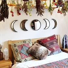 Amazon Com Nordic Scandinavian Natural Wooden Moonphase Acrylic Wall Mirror Set Boho Decoration Decorative Mirror Self Adhesive Wall Sticker Decal For Home Kids Room Decor Party Decorations Ornament Black Furniture Decor