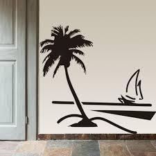 Beach Coconut Palm Tree Sailboat Wall Art Bathroom Glass Modern Art Mural 8499 Home Decor Large 3d Vinyl Wall Decal Sticker Wall Decals Stickers Decal Stickerhome Decor Aliexpress