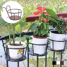 1pc Round Plant Flower Balcony Garden Bonsai Pot Iron Rack Anti Rust Flowerpot Holder Hook Hanging Bracket Outdoor Fence Decor Pot Trays Aliexpress