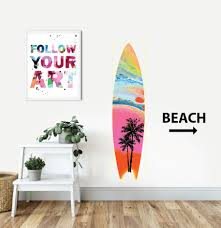 Sunset Vibes Surfboard Wall Decal Jennifer Mccully