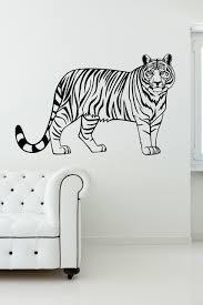 White Tiger Wall Decal Flying Design Black And Stripe Bengal Large Vamosrayos